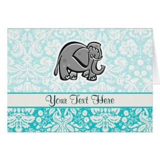 Cute Elephant; teal Card