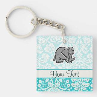 Cute Elephant; teal Double-Sided Square Acrylic Keychain