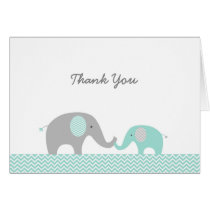 Cute Elephant Thank You Cards Mint Green & Grey
