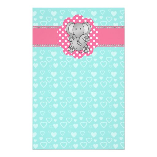 Cute elephant turquoise hearts custom stationery