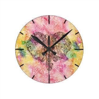 Cute Elephant Watecolor hand drawn Henna floral Round Clocks