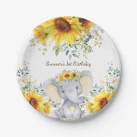 Cute Elephant Watercolor Sunflowers 1st Birthday Paper Plate