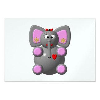 Cute Elephant wearing Earrings Custom Invitation