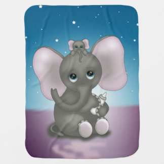 Cute Elephant with Baby Swaddle Blanket