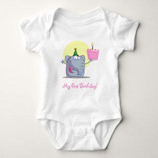Cute Elephant with Birthday Cake Baby Bodysuit