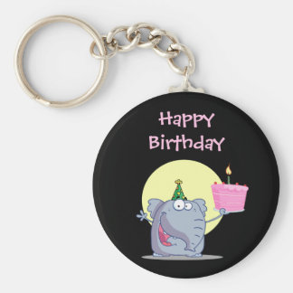 Cute Elephant with Birthday Cake Basic Round Button Keychain