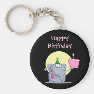 Cute Elephant with Birthday Cake Basic Round Button Keychain