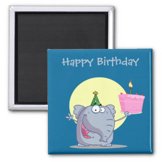 Cute Elephant with Birthday Cake Magnet