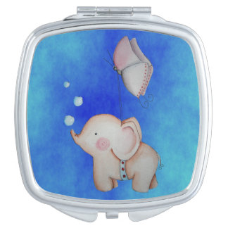 Cute Elephant with butterfly Compact Mirror