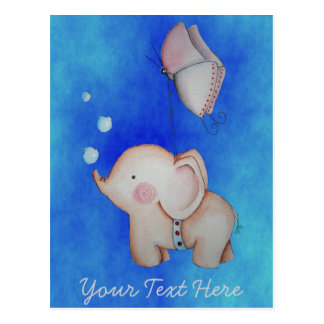 Cute Elephant with butterfly Customizable Postcard