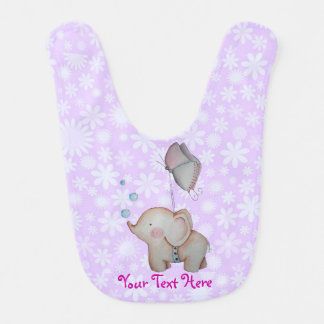 Cute Elephant with butterfly floral Baby Bib