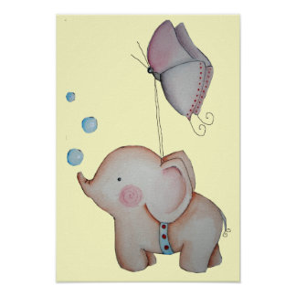 Cute Elephant with butterfly Poster