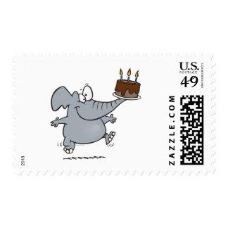 cute elephant with chocolate birthday cake postage