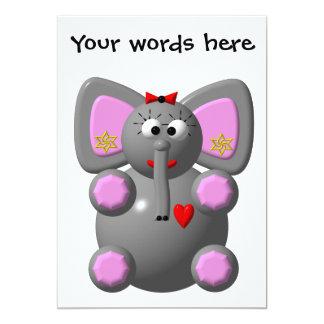Cute Elephant with Earrings Invitations