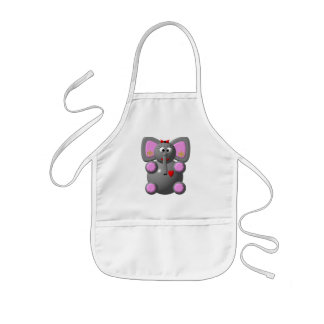Cute Elephant with Earrings Kids' Apron