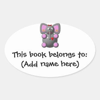 Cute Elephant with Earrings Oval Sticker