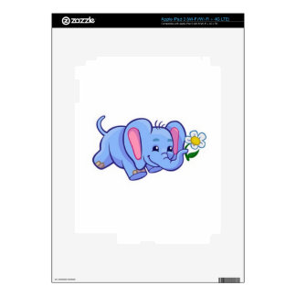 Cute Elephant with Flower Jungle Animal Kids Skins For iPad 3