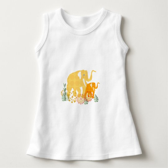 Cute Elephant  with Flowers and Patterns Dress
