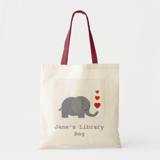 Cute elephant with hearts kid's library bag