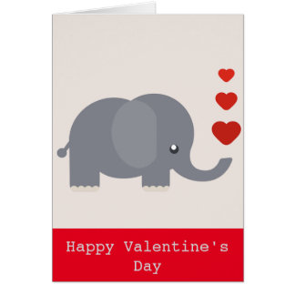 Cute elephant with hearts whimsical love card
