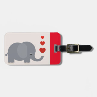 Cute elephant with hearts whimsical love luggage tag