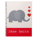 Cute elephant with hearts whimsical love spiral note book