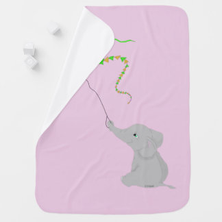 Cute Elephant with Kite Swaddle Blanket