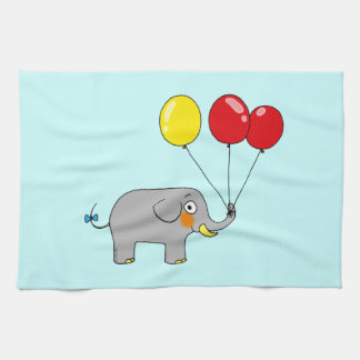 Cute elephant with party balloons hand towel