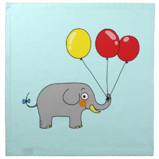 Cute elephant with party balloons printed napkin