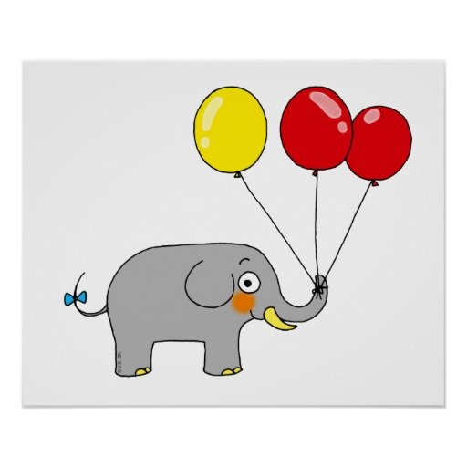 Cute elephant with party balloons print