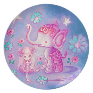Cute Elephant With Pink Haired Girl Dinner Plate