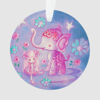 Cute Elephant With Pink Haired Girl Ornament