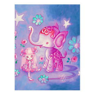 Cute Elephant With Pink Haired Girl Postcard