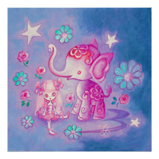 Cute Elephant With Pink Haired Girl Poster