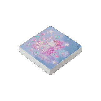 Cute Elephant With Pink Haired Girl Stone Magnet