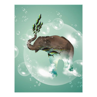 Cute elephant with swimming fish letterhead