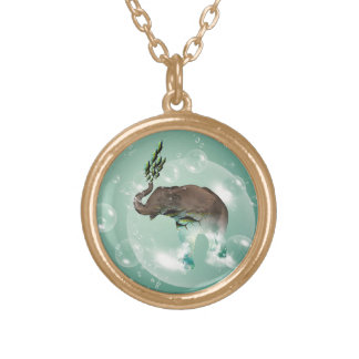 Cute elephant with swimming fish round pendant necklace