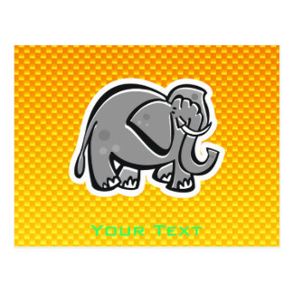 Cute Elephant; Yellow Orange Postcard