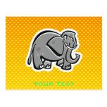 Cute Elephant; Yellow Orange Postcards