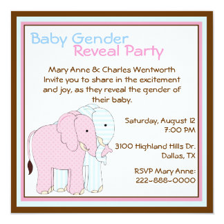 Cute Elephants Baby Gender Reveal Party Card