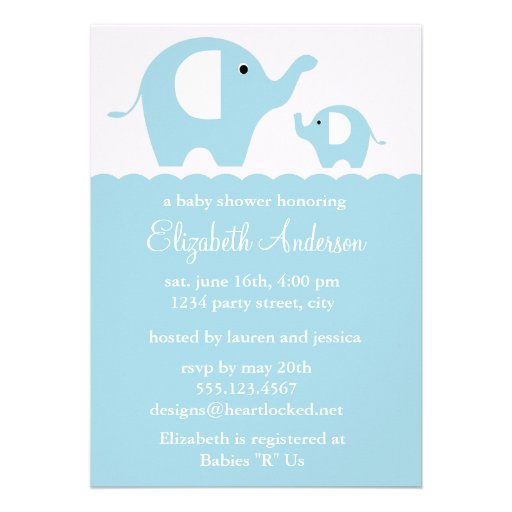 blue elephants baby shower 5x7 paper invitation card zazzle