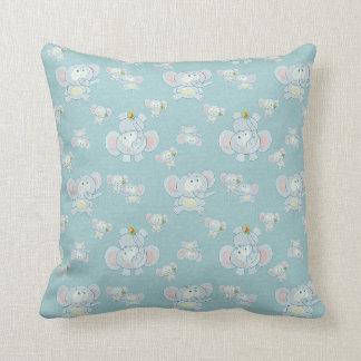 Cute Elephants & Butterflies Pillow