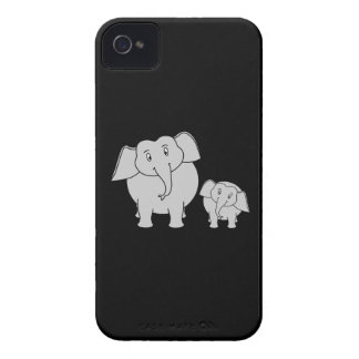 Cute Elephants. Cartoon on Black. Case-Mate iPhone 4 Cases