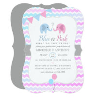 Cute Elephants Chevron Gender Reveal Party Invite
