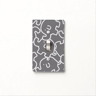 Cute Elephants Grey And White Switch Cover Light Switch Plates