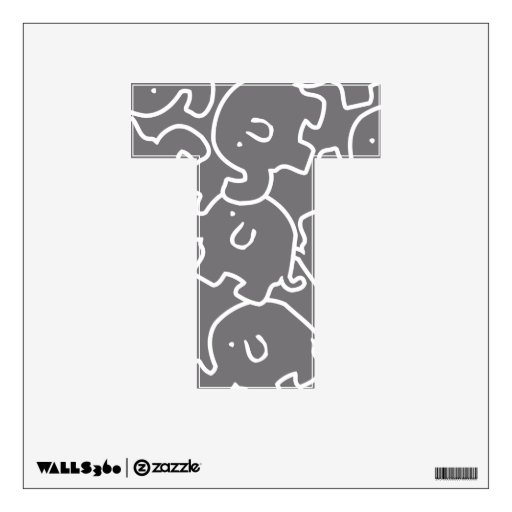 Cute Elephants Grey  Name Initial  12X12 Letter T Wall Decal