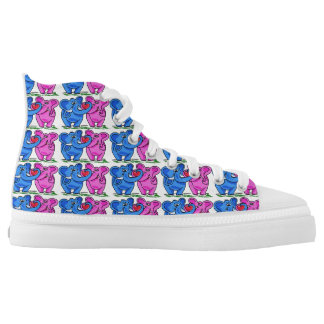Cute Elephants holding a Heart High-Top Sneakers