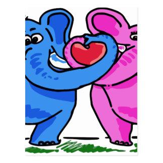 Cute Elephants holding a Heart Postcard