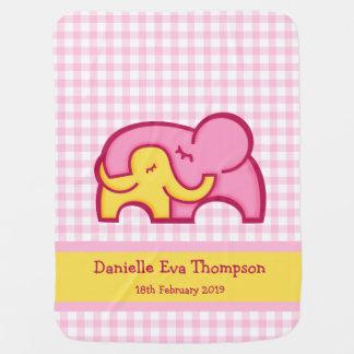 Cute elephants hug yellow pink custom blanket