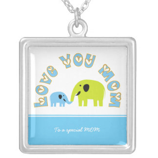 Cute elephants Mother baby boy Mother's Day Gift Silver Plated Necklace